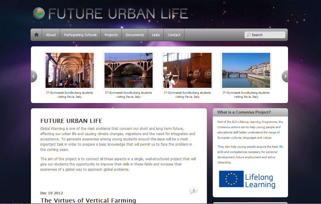 future urban life - comenius project
